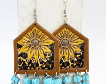 Large leather sunflowers with blue tassel earrings