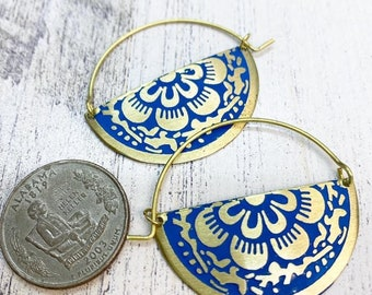 Blue enamel floral hoops