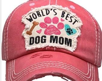 Worlds best dog mom tattered baseball hat