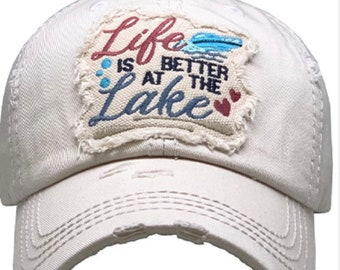 Life is better at the lake tattered baseball hat