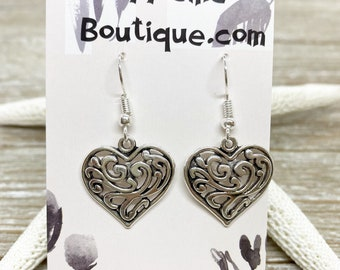 Filigree heart charm earrings