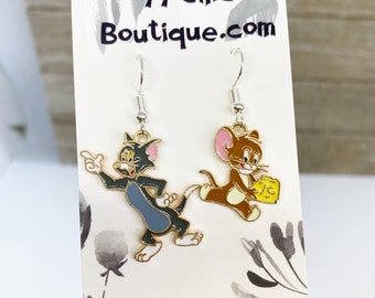 Tom and Jerry cartoon earrings
