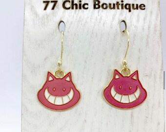 Pink cat earrings