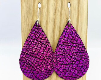 Hot pink holographic leather teardrop earrings