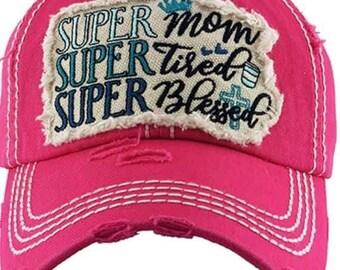 Super Mom tattered baseball hat