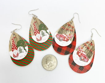 Fun and light faux leather holiday earrings