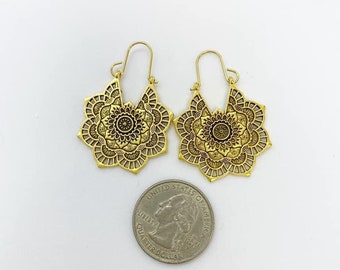Gold tone Mandala earrings