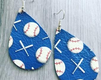 Baseball print leather teardrop earrings