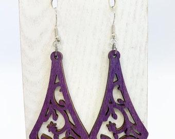 Purple Aspen wood earrings