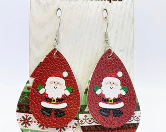 Fun and light faux leather santa holiday earrings