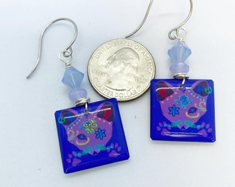 Purple polymer clay cat earrings wire wrapped on stainless steel ear wires with Swarovski crystal accents