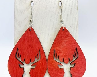 Lightweight Aspen wood reindeer earrings