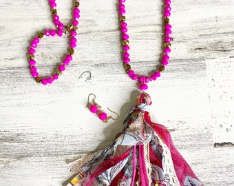 Hot pink beaded tassel necklace set with dainty matching earrings