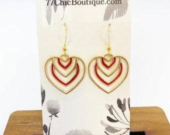 Art deco style heart earrings
