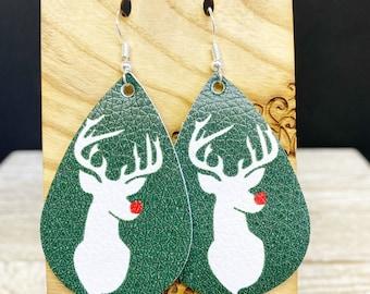 Christmas print standard size 2 inch faux leather teardrop earring