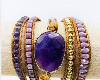 Purple amethyst bohemian wrap bracelet