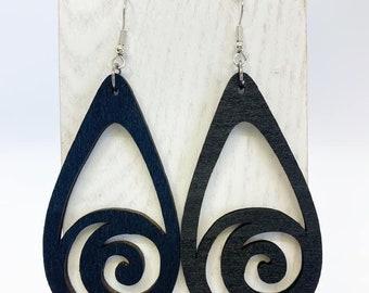 Black Aspen wood swirl earrings