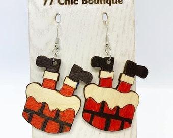 Santa is stuck Aspen wood earrings