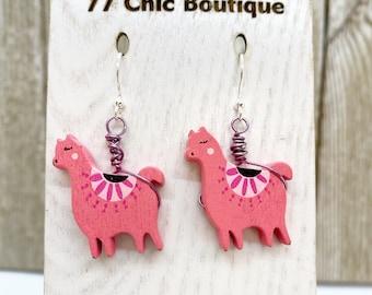 Pink wood wire wrapped llama earrings