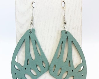 Large but lightweight Aspenwood butterfly earrings
