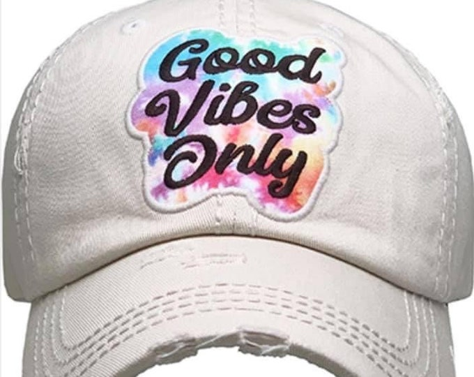 Featured listing image: Good vibes only tattered baseball hat