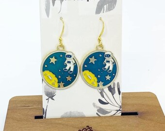 Astronaut charm earrings