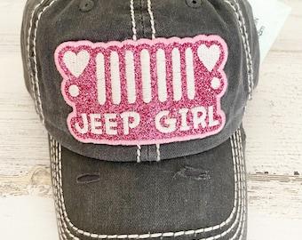 Pink sparkles tattered baseball hat