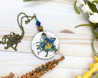 Rustic bohemian polymer clay pendant wire wrapped with Swarovski crystal on 24 inch chain
