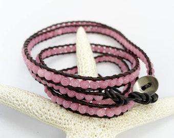 Triple wrap pink jasper bohemian bracelet with button closure