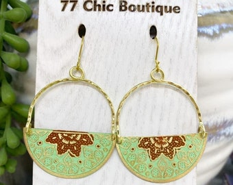 Mint green and red Mandala earrings