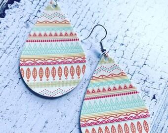 Aztec print faux leather earrings