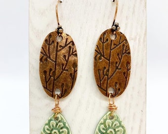 Copper and wire wrapped ceramic earrings