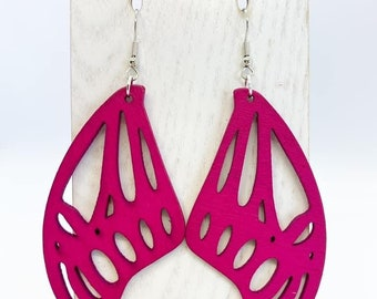 Hot pink Aspen wood butterfly wing earrings