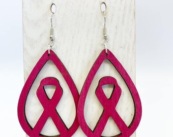 Pink awareness ribbon Aspen wood earrings