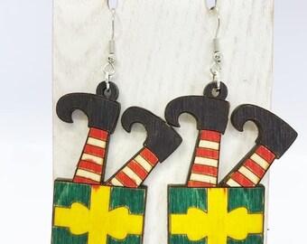 Aspen wood elf earrings