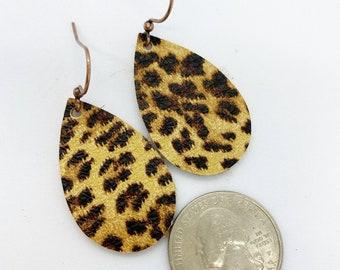 Petite size genuine metallic leather cheetah print earrings
