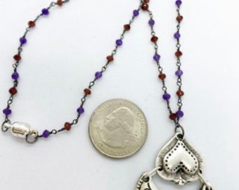 18 inch Rosary style chain with amethyst and Garnet with pewter pendant and magnetic clasp
