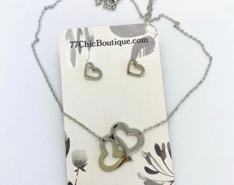 Stainless steel heart set with 18 inch chain and stud earrings