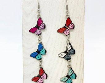 Long but light butterfly drop earrings