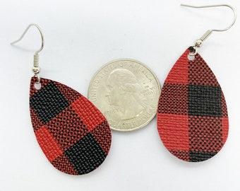 Petite size faux leather buffalo plaid teardrop earrings