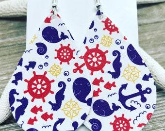 Fun nautical print vegan leather teardrop earrings