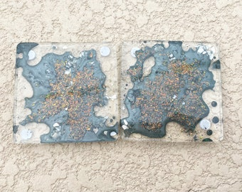 Two piece set celestial explosion clear epoxy resin coasters