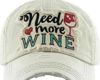 Need more wine Tattered baseball hat