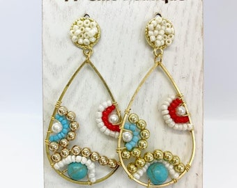 Beaded bohemian drops with stud posts