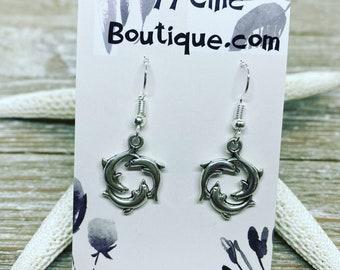 Dolphin charm earrings