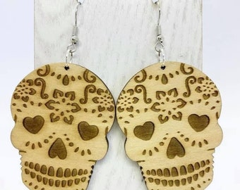 Natural light weight Aspenwood sugar skull earrings