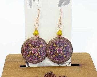 Wire wrapped wood mandala earrings