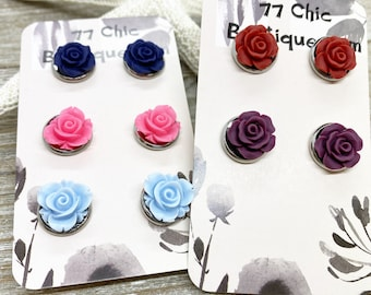 12mm rose stud earrings. Your choice of color