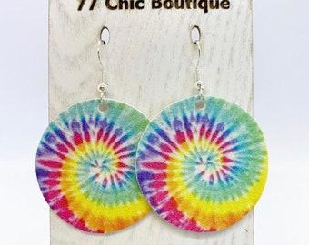 Tie dye faux leather disc earrings