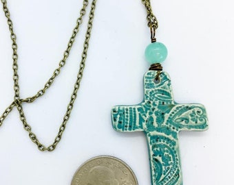 Ceramic cross wire wrapped on 18 inch vintage bronze color Chain